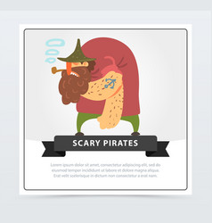 Muscular pirate bearded filibuster smoking pipe vector