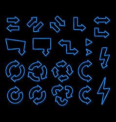 neon light 3d arrow set on black background vector image