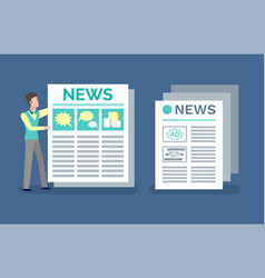 Newspaper journal with advertisements and news vector