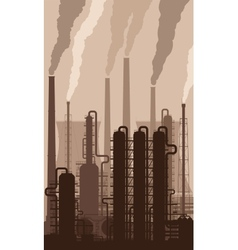 Oil refinery silhouette with smoking chimneys vector