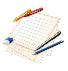 Paper Crayons Pencils vector