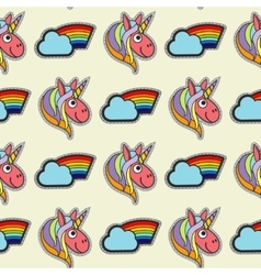 patch unicorns and rainbows seamless vector image