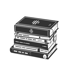 Pile books in a monochrome style vector
