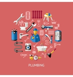 Plumbing Round Composition vector image vector image