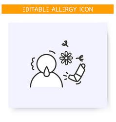 Pollen allergy line icon editable vector