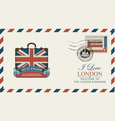 Postcard or envelope with suitcase and uk flag vector