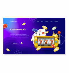 realistic detailed 3d casino concept card landing vector image
