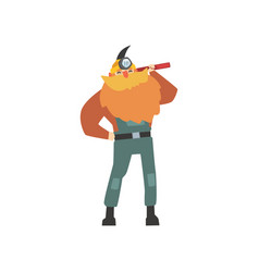 Red-bearded miner standing with pickaxe on his vector
