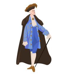 Rococo or baroque man with walking stick vector