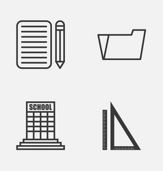 school icons set collection of home work vector image