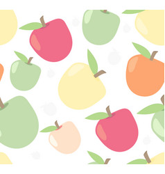 Seamless cute apple pattern in vector