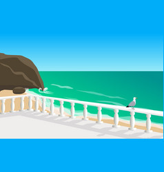 Seascape with seagull vector