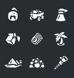set of coal icons vector image