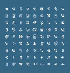 Set of different icons with phone on white vector