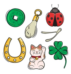 Set of Lucky Charms Symbols and Talismans Symbols vector