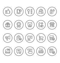 set round line icons of shopping vector image
