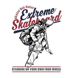 skull extreme skateboard hand drawingshirt vector image