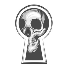 skull looks through keyhole tattoo vector image