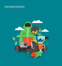 snowboarding equipment flat style design vector image