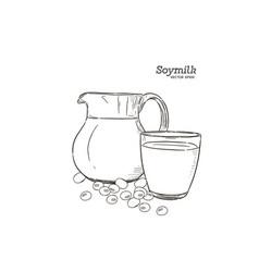 soy milk hand draw sketch vector image