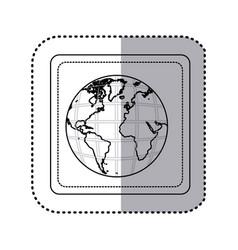 Sticker silhouette square button earth world map vector