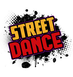 street dance on black ink splatter background vector image
