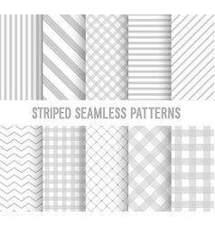 Striped seamless patterns collection vector