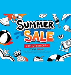 summer sale with doodle icon and design on blue vector image