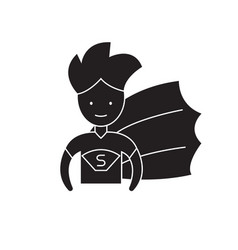 super hero kid black concept icon super vector image