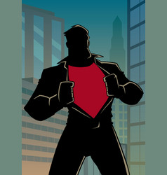 Superhero under cover casual in city silhouette vector