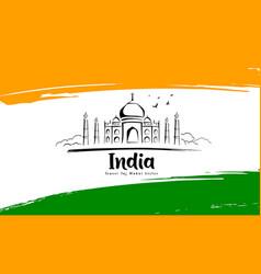 taj mahal sketching drawing in flag india vector image