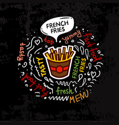tasty fast food french fries menu vector image