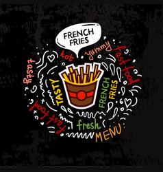 Tasty fast food french fries menu vector