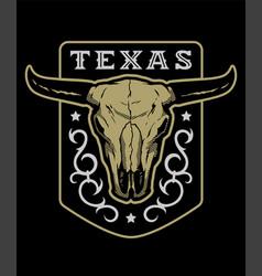 texas vintage emblem with bull skull on a dark vector image
