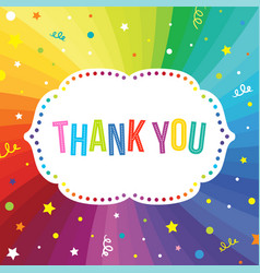 Thank you text template on rainbow swirl vector
