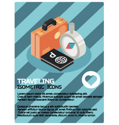 traveling color isometric poster vector image