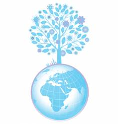 tree and globe vector image