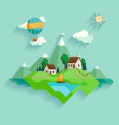 Village landscape vector