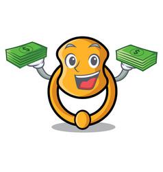 With money elegant fashion door knocker mascot vector