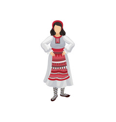 woman in traditional romanian clothing long white vector image