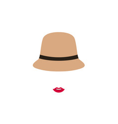 woman with red lips in retro hat emblem design vector image