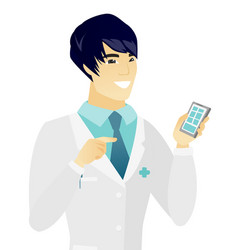 Young asian doctor holding a mobile phone vector