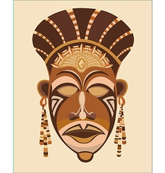 abstract brown mask face African women vector image vector image