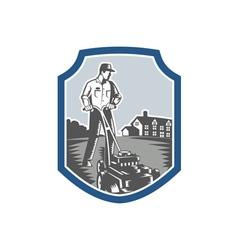 Gardener Mow Lawn Mower Woodcut Shield vector image