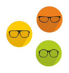 glasses green yellow and orange icon set isolated vector image vector image