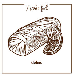 Nutritious dolma with slice of lemon from arabic vector