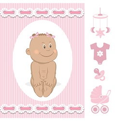 Cute African baby girl vector image