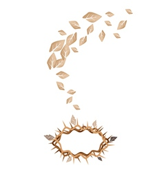 Dried Leaves Falling to A Crown of Thorns vector image vector image