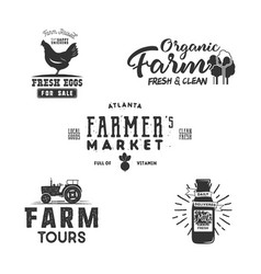 farmers market organic food logo eco badges set vector image vector image