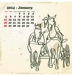 January 2014 hand drawn horse calendar vector image vector image